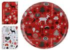 Happy Christmas Xmas Design 28cm Round Kitchen Dinner Serving Party Plastic Tray
