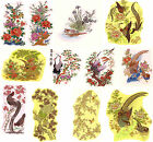 Ceramic Decals Oriental Style Birds and Florals Bright Gold Accents