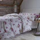 Catherine Lansfield Floral 100% Brushed Cotton Pillowcase Fitted Flat Sheet Set