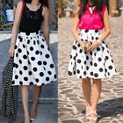 Womens High Waist Polka Dot A Line Flared Skater Party Cocktail Midi Skirt Dress