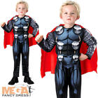 Deluxe Thor Boys Fancy Dress Marvel The Avengers Superhero Kid Childrens Costume