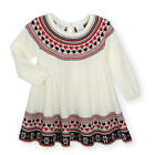 Koala Kids Girls Ivory Long Sleeve Sweater Dress with Red/Black Fair Isle Trim