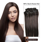 Clip In 100% Remy Hair Human Hair Extension #2 dark brown custom made accetped
