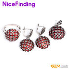 Semi Ruby Ball Pendant Earirng Ring Jewelry Set Tibetan Silver Mother's Day Gift
