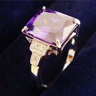 Womens White Gold Plated Zirconia Engagement Rings Purple Band Wedding Romantic