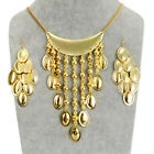 Fashion Vintange Water Drops Chain Bib Pendant Necklace Stud Dangle Earrings Set