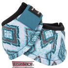 Classic Equine DYNOHYDE 2520D No Turn Bell Boots Horse Tack TEAL DIAMONDS