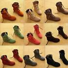 Womens Faux Suede Martin Snow Ankle Boots Winter Lace Up High Top Flat Shoes LD