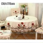 Round Peony Embroidered Cutwork Tablecloth Xmas Table Cover Decor 4 Sizes #229