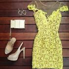 New Women Bandage Bodycon Lace Evening Sexy Party Cocktail Mini Dress Yellow Y3