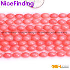 "5x9-10mm Olivary Pink Coral Stone Beads For Jewelry Making Gemstone 15"" In Bulk"