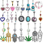 Popular Navel Belly Ring Rhinestone Button Bar Barbell Body Piercing Jewelry
