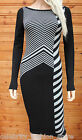 Karen Millen Black Long Chevron Block Knit Midi Bodycon Jumper Dress 3 12 40