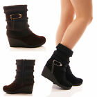 LADIES WOMENS MID WEDGE ANKLE BOOTS KNIT COLLAR SLOUCH WINTER SNOW SHOES SIZE
