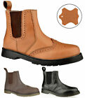 MENS LEATHER SLIP PULL ON CHELSEA DEALER GUSSET BROGUE ANKLE WORK BOOTS SIZE VH1