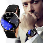 Mens Luxury Fashion Business Classic Leather Quartz Analog Watch Wristwatches
