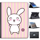 Funny & Cute Kawaii Pink Rabbits Folio Cover Leather Case For Apple iPad
