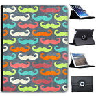 Trendy Hipster Moustaches Mustache Folio Cover Leather Case For Apple iPad