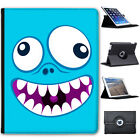 Monster Faces Folio Cover Leather Case For Apple iPad