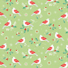 BIRDS ON GREEN WINTER WONDERLAND by DASHWOOD 100% COTTON CHRISTMAS FABRIC