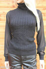Karen Millen Black Sporty Cable Knit Smart Polo Sweater Jumper Dress Top 8 - 14