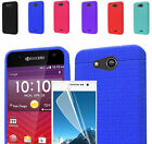 LCD Film+Rugged Silicone Rubber Slim Case Cover For AT&T Kyocera Hydro Air C6745