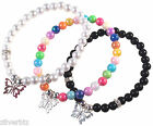 BUTTERFLY Charm Bracelet Acrylic Beads 16 Colour Choices Silver Metal Charm