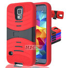 For Galaxy S IV 4 I9500 RUGGED Hard Rubber w V Stand Case Colors