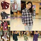 Fashion Womens Casual Lapel T-Shirt Plaid&Check Flannel Shirts Tops Blouse LA