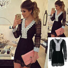 Women's Bandage Bodycon Lace Evening Party Cocktail Black Mini Dress Top