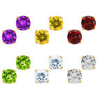 5MM Round Natural Gemstone 10K Yellow Gold 4-prong Stud Earrings