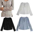 New Sexy Womens Ladies Lace Long Sleeve Loose Warm T-Shirt Blouse Top TY