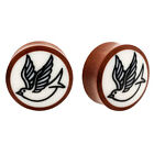 PAIR ORGANIC Double Flared Wood Plugs Buffalo Bone Swallow Sparrow Flesh Unique