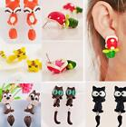 Polymer Clay 3D Animal Cat Animal  Dinosaur Piranha Plant Ear Stud Earrings