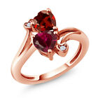 1.89 Ct Heart Shape Red Created Ruby Red Garnet 18K Rose Gold Plated Silver Ring