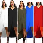 Elegant Women Sexy Bodycon V Neck Long Sleeves Asymmetric Loose Party Dress - LD