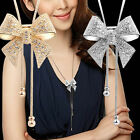 YY Elegant Sweet Crystal Rhinestone Bow Bowtie Pendant Necklace Sweater Chain
