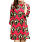 Women Crew Neck 3/4 Sleeves Novelty Pattern Above Knee A Line Dress