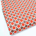ORANGE & MINK  -  DOUBLE DOT GEOMETREIC 100% COTTON FABRIC 160cm OEKO-TEX