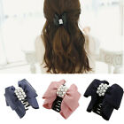 Lady Women Girl Bowknot Bow Rhinestone Pearl Barrette Hair Clip Claw Clamp Gift