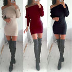 Sexy Ladies Off Shoulder Long Sleeve Jumper Bodycon Shirt Slim Mini Dress
