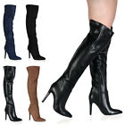 New Womens Pointed Toe Ladies High Stiletto Heeled Above the Knee Boots Size 3-8