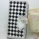 Bling Crystal Diamonds Rhinestone PU leather wallet flip stand Case cover skin H