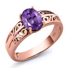 1.00 Ct Oval Purple Amethyst 18K Rose Gold Plated Silver Ring