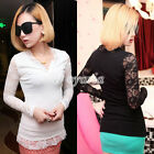 Fashion Women's V-neck Long Sleevs Flower Lace T-shirts Bodycon Casual Basic Tee