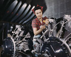 Aircraft engines being assembled at North American Aviation WWII Photo Print