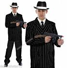 Mens Gangster Fancy Dress 20s 30s Adult Black Striped Suit Tie Hat Costume M/L