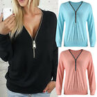 Sexy Womens Long Sleeve Bandage Button V Neck Loose T Shirt Ladies Top Blouse TY