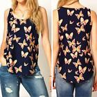 New Women Butterfly Print Chiffon Blouse Sleeveless Casual T-Shirt Vest Tank Top