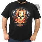 Harley-Davidson Mens Rider For Life Flamin Skull Trio Black Short Sleeve T-Shirt